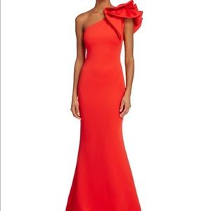 One shoulder long red ruffle evening gown
